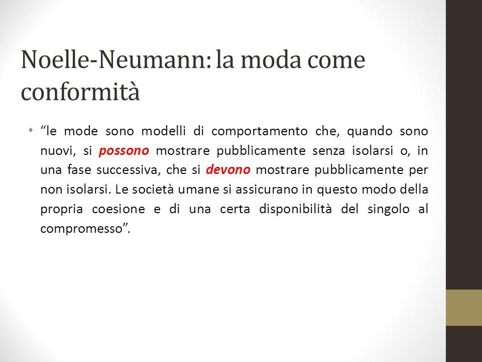 """Noelle-Neumann: la moda come conformità """"le mode sono modelli di comportamento che, quando sono nuovi, si possono mostrare pubblicamente senza isolars"""