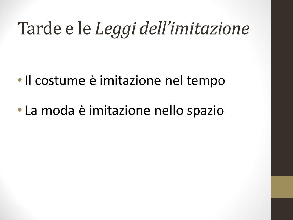 Tarde e le Leggi dell'imitazione Il costume è imitazione nel tempo La moda è imitazione nello spazio