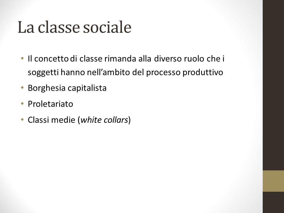 La classe sociale Il concetto di classe rimanda alla diverso ruolo che i soggetti hanno nell'ambito del processo produttivo Borghesia capitalista Prol
