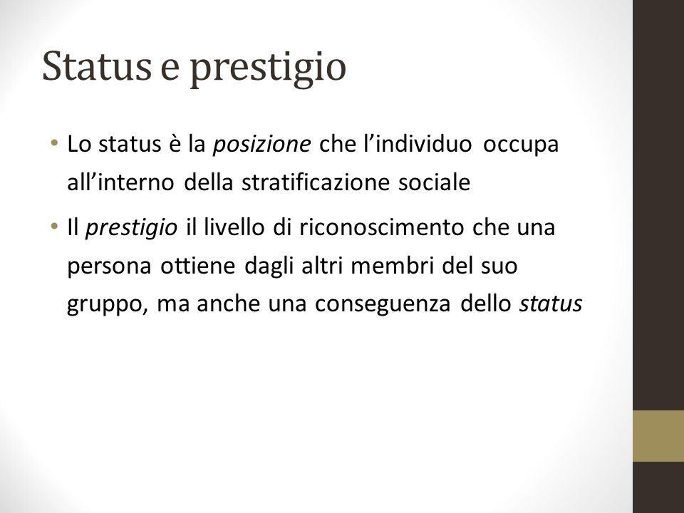 Status e prestigio Lo status è la posizione che l'individuo occupa all'interno della stratificazione sociale Il prestigio il livello di riconoscimento