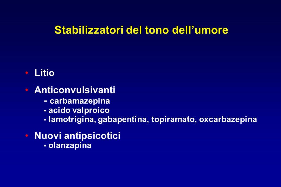 Litio Anticonvulsivanti - carbamazepina - acido valproico - lamotrigina, gabapentina, topiramato, oxcarbazepina Nuovi antipsicotici - olanzapina