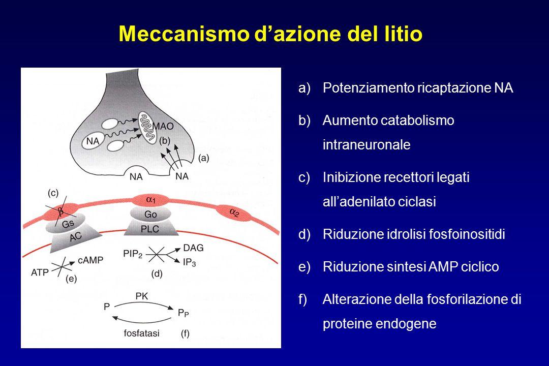 Meccanismo d'azione del litio a)Potenziamento ricaptazione NA b)Aumento catabolismo intraneuronale c)Inibizione recettori legati all'adenilato ciclasi d)Riduzione idrolisi fosfoinositidi e)Riduzione sintesi AMP ciclico f)Alterazione della fosforilazione di proteine endogene