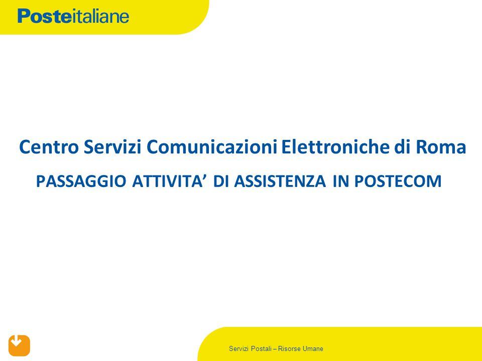 Servizi Postali – Risorse Umane PASSAGGIO ATTIVITA' DI ASSISTENZA IN POSTECOM Centro Servizi Comunicazioni Elettroniche di Roma