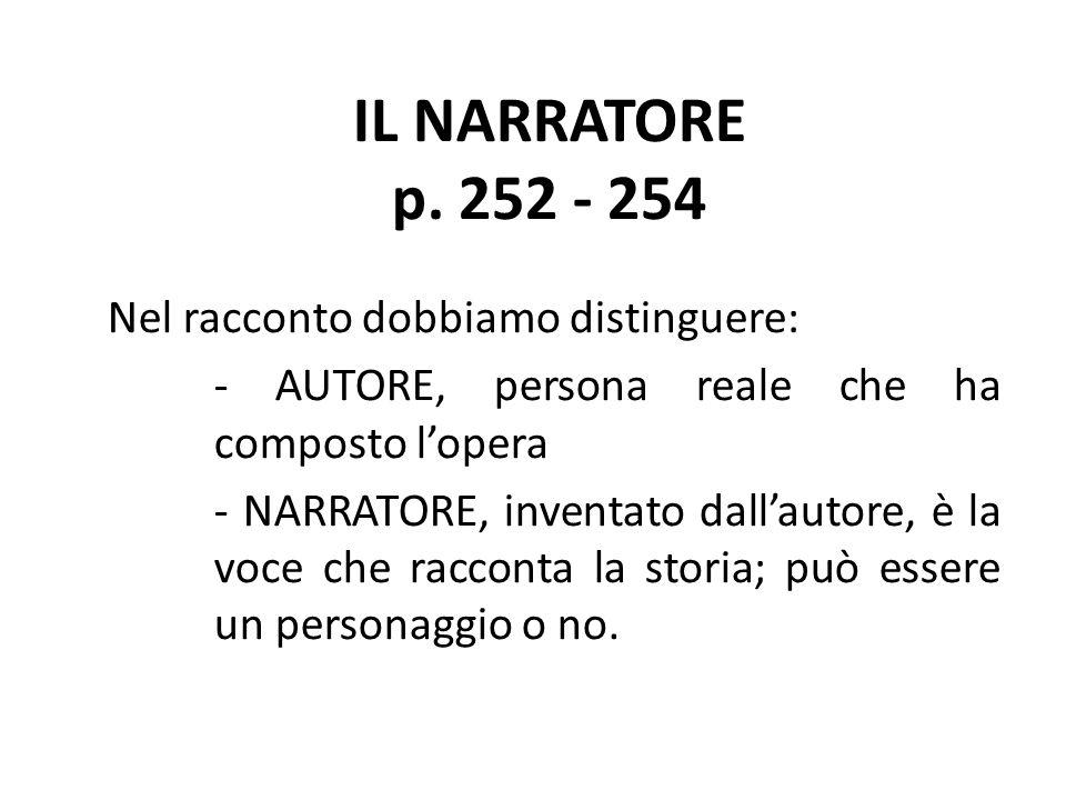IL NARRATORE p. 252 - 254 Nel racconto dobbiamo distinguere: - AUTORE, persona reale che ha composto l'opera - NARRATORE, inventato dall'autore, è la