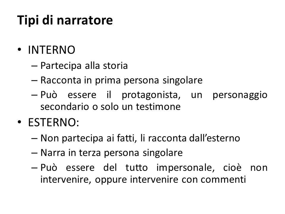Tipi di narratore INTERNO – Partecipa alla storia – Racconta in prima persona singolare – Può essere il protagonista, un personaggio secondario o solo