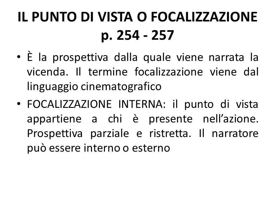 IL PUNTO DI VISTA O FOCALIZZAZIONE p. 254 - 257 È la prospettiva dalla quale viene narrata la vicenda. Il termine focalizzazione viene dal linguaggio
