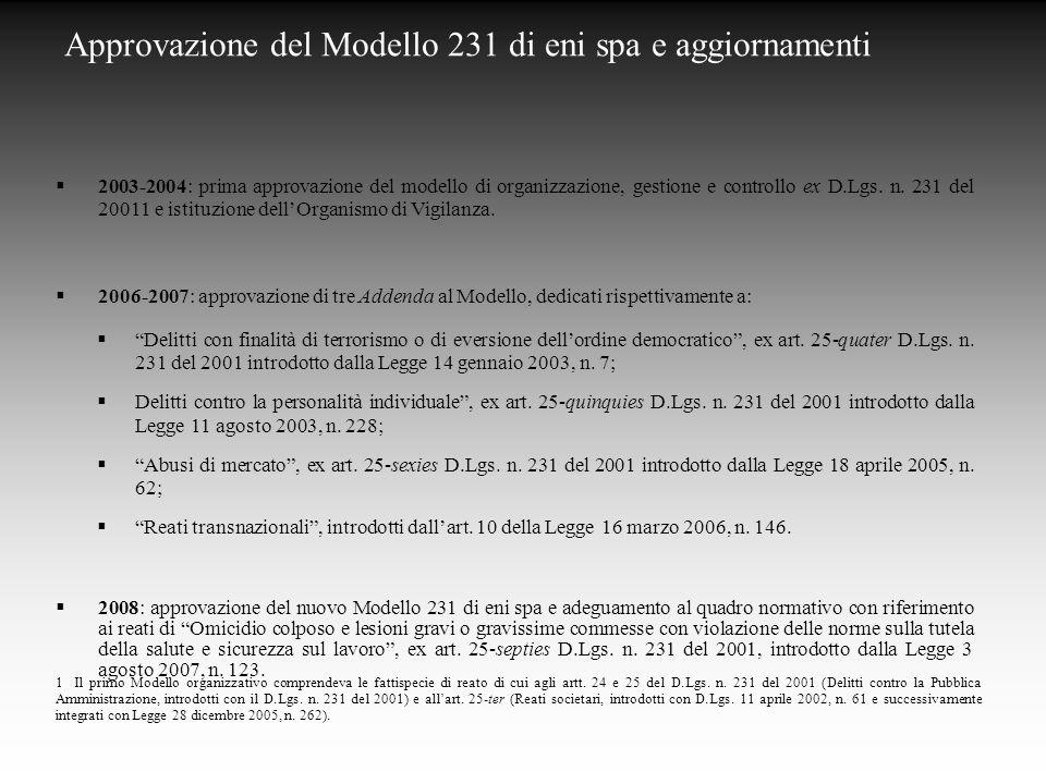 Approvazione del Modello 231 di eni spa e aggiornamenti  2003-2004: prima approvazione del modello di organizzazione, gestione e controllo ex D.Lgs.