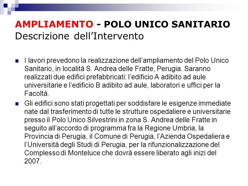 AMPLIAMENTO - POLO UNICO SANITARIO Descrizione dell'Intervento I lavori prevedono la realizzazione dell'ampliamento del Polo Unico Sanitario, in località S.