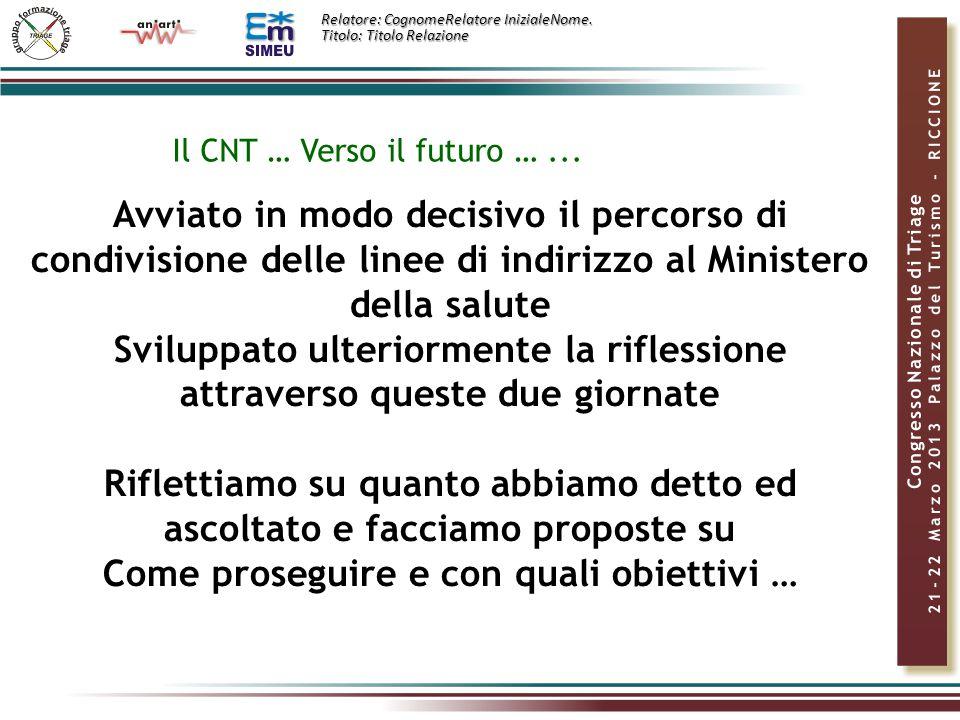 Relatore: CognomeRelatore InizialeNome.Titolo: Titolo Relazione Il CNT … Verso il futuro …...