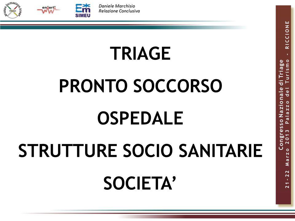 Daniele Marchisio Relazione Conclusiva TRIAGE PRONTO SOCCORSO OSPEDALE STRUTTURE SOCIO SANITARIE SOCIETA'