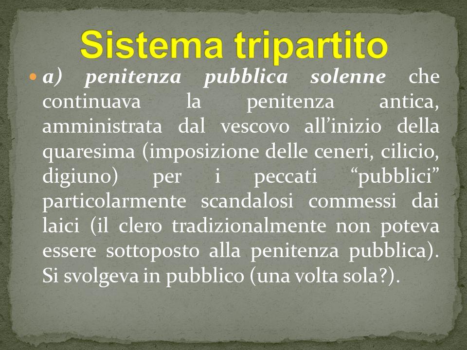 a) penitenza pubblica solenne che continuava la penitenza antica, amministrata dal vescovo all'inizio della quaresima (imposizione delle ceneri, cilic