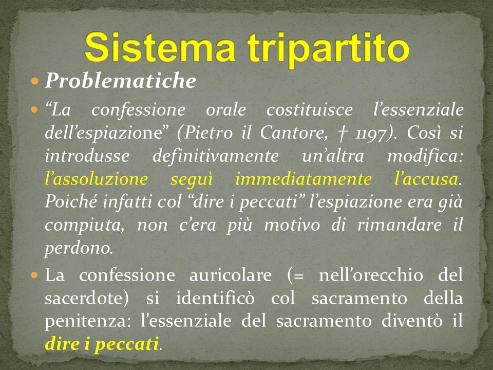 Problematiche La confessione orale costituisce l'essenziale dell'espiazione (Pietro il Cantore, † 1197).