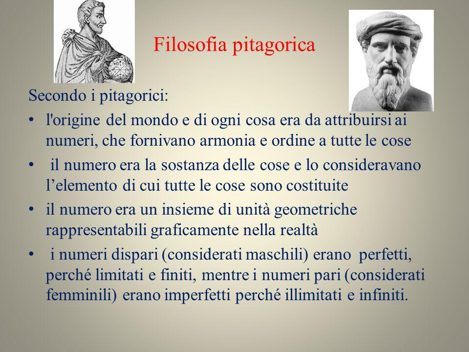 Filosofia pitagorica Secondo i pitagorici: l'origine del mondo e di ogni cosa era da attribuirsi ai numeri, che fornivano armonia e ordine a tutte le