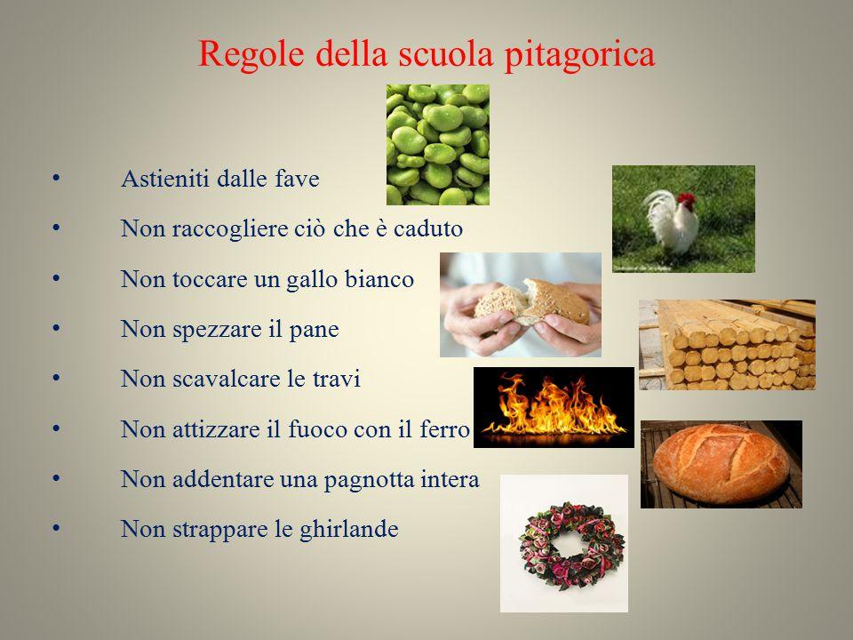 Regole della scuola pitagorica Astieniti dalle fave Non raccogliere ciò che è caduto Non toccare un gallo bianco Non spezzare il pane Non scavalcare l