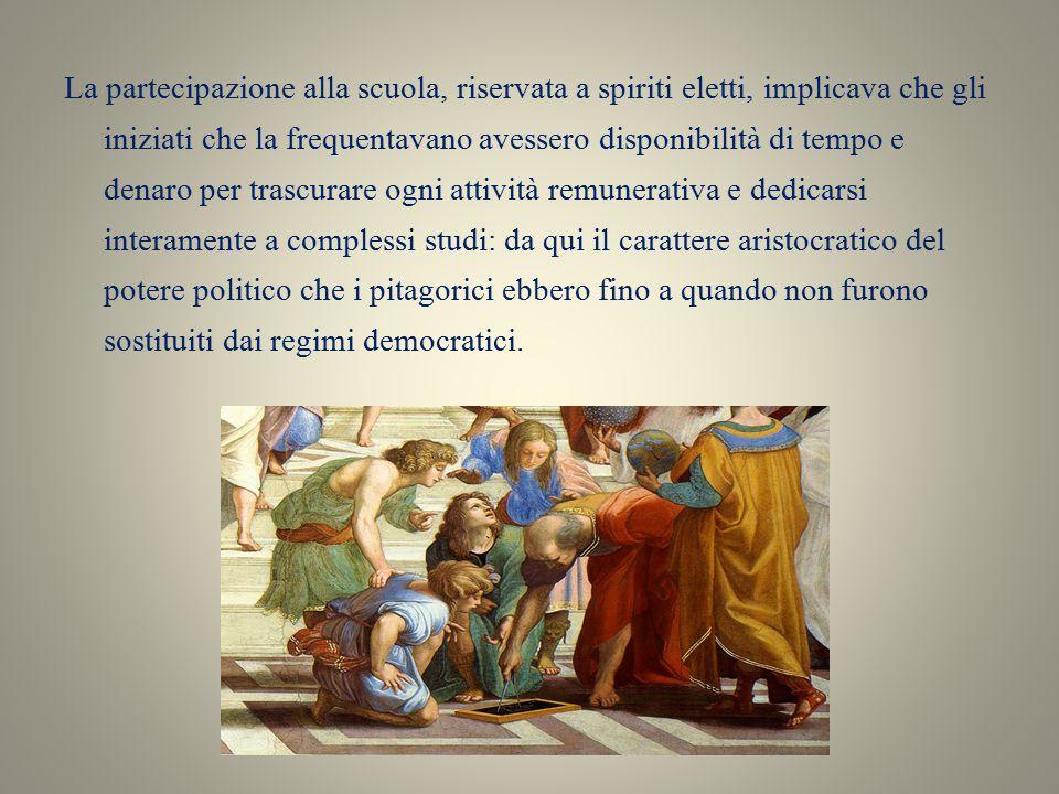 Scuola pitagorica: fondazione Si dice che Pitagora avesse interpellato a Delfi l Oracolo del Dio Apollo che gli aveva predestinato la città di Crotone come sede della sua scuola che quindi nasceva per volontà del dio.