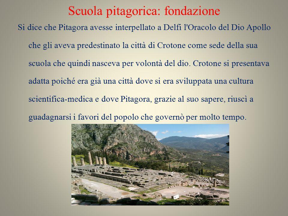 Scuola pitagorica: fondazione Si dice che Pitagora avesse interpellato a Delfi l'Oracolo del Dio Apollo che gli aveva predestinato la città di Crotone