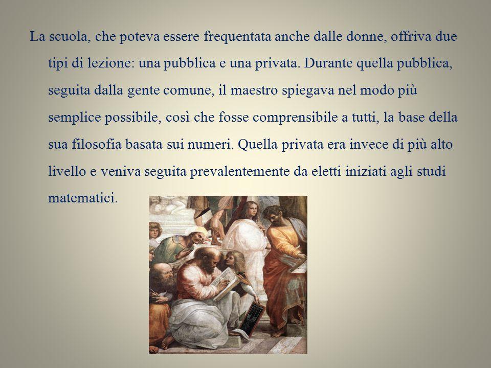 Organizzazione della scuola pitagorica Secondo la tradizione risalente a Giamblico e Porfirio nella scuola avvenne una divisione tra i discepoli, in due gruppi: I matematici e gli acusmatici.