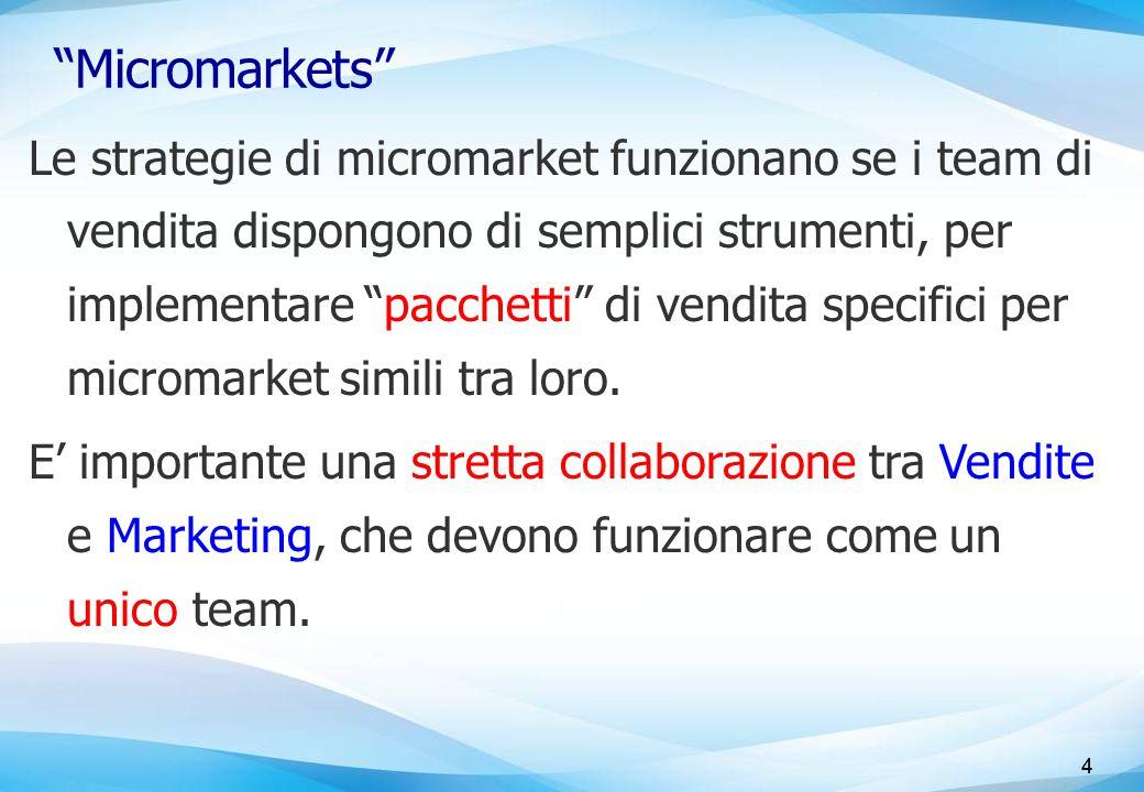 4 Micromarkets Le strategie di micromarket funzionano se i team di vendita dispongono di semplici strumenti, per implementare pacchetti di vendita specifici per micromarket simili tra loro.