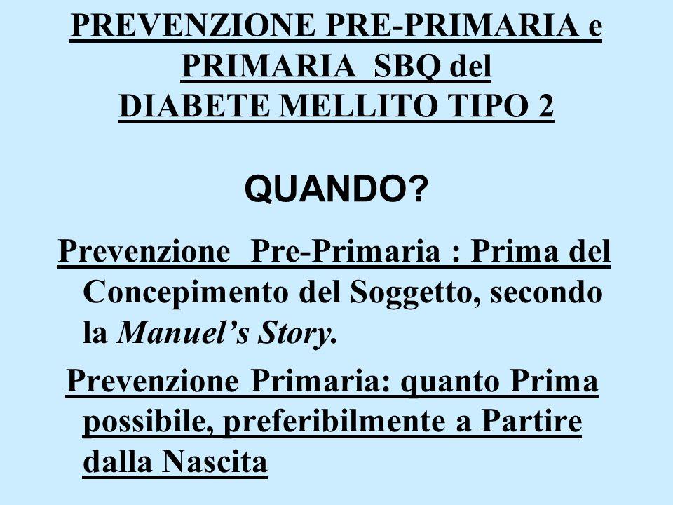 PREVENZIONE PRE-PRIMARIA e PRIMARIA SBQ del DIABETE MELLITO TIPO 2 QUANDO? Prevenzione Pre-Primaria : Prima del Concepimento del Soggetto, secondo la