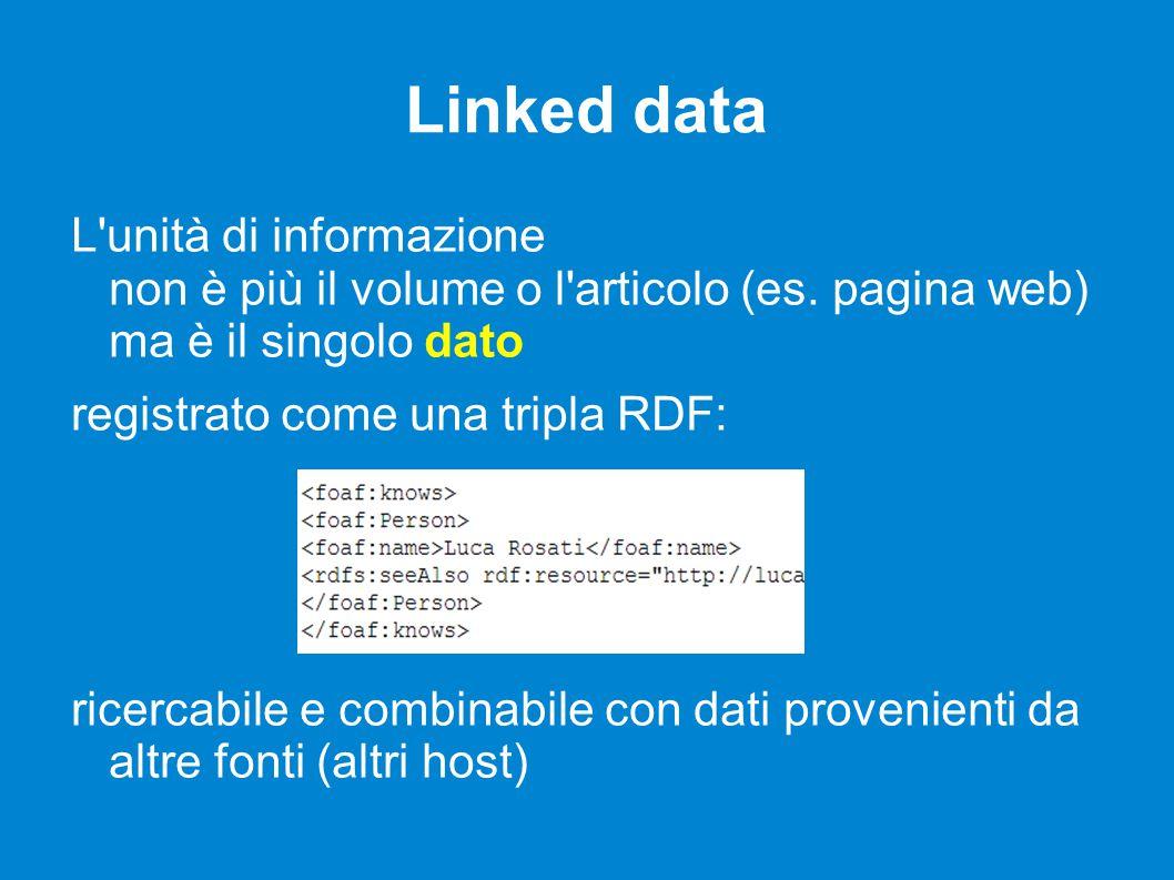 Linked data L unità di informazione non è più il volume o l articolo (es.
