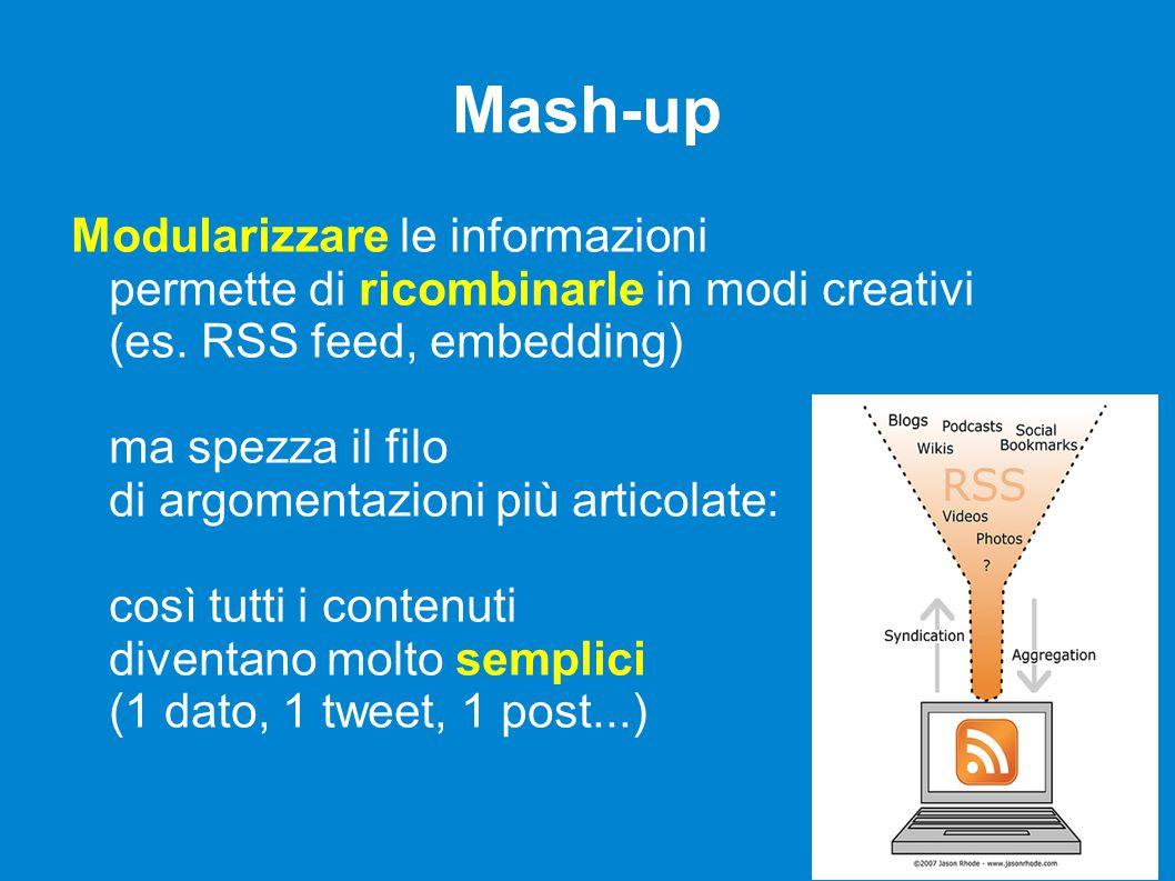 Mash-up Modularizzare le informazioni permette di ricombinarle in modi creativi (es.