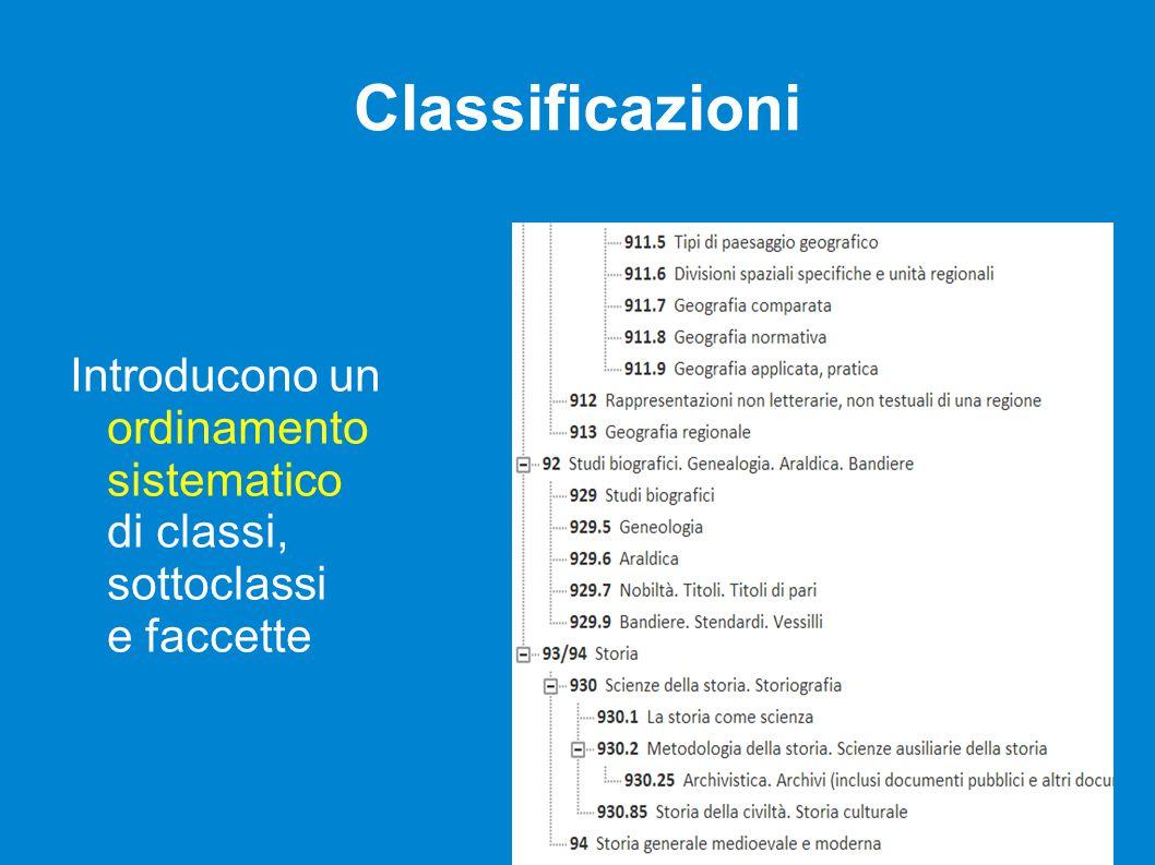 Classificazioni Introducono un ordinamento sistematico di classi, sottoclassi e faccette