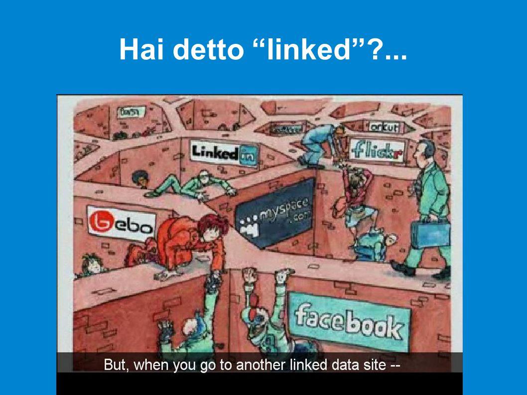 Gli standard esisterebbero (HTTP, HTML, URI, RDF,...) ma l interesse commerciale crea muri: provate a cercare su Facebook l e-mail e il sito del titolare del profilo...