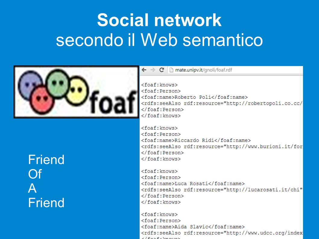Social network secondo il Web semantico Friend Of A Friend