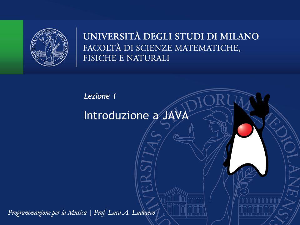 Introduzione a JAVA Lezione 1 Programmazione per la Musica | Prof. Luca A. Ludovico
