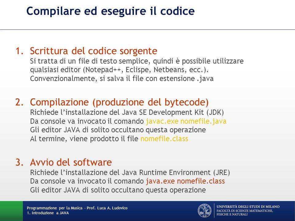 Compilare ed eseguire il codice 1.Scrittura del codice sorgente Si tratta di un file di testo semplice, quindi è possibile utilizzare qualsiasi editor