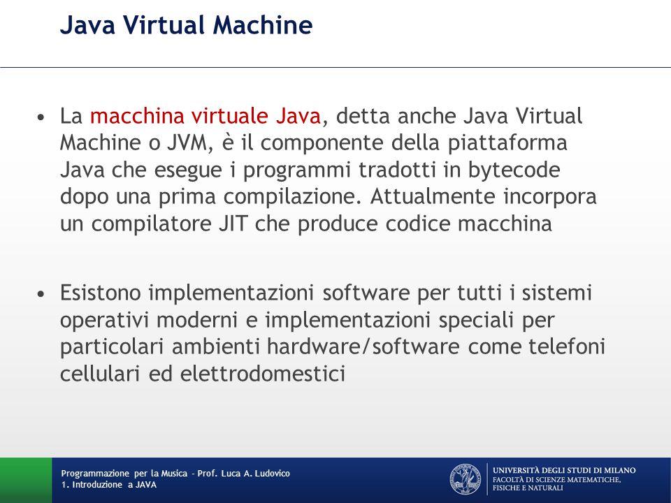 Java Virtual Machine La macchina virtuale Java, detta anche Java Virtual Machine o JVM, è il componente della piattaforma Java che esegue i programmi