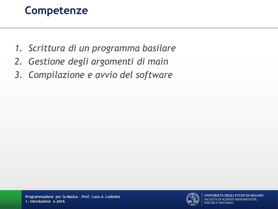 Competenze 1.Scrittura di un programma basilare 2.Gestione degli argomenti di main 3.Compilazione e avvio del software Programmazione per la Musica -