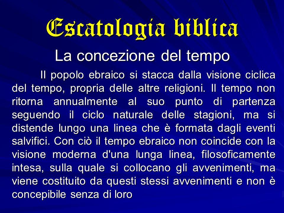 Escatologia biblica La concezione del tempo II popolo ebraico si stacca dalla visione ciclica del tempo, propria delle altre religioni.