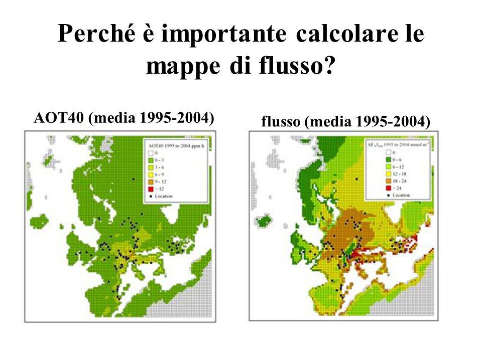 Perché è importante calcolare le mappe di flusso? AOT40 (media 1995-2004) flusso (media 1995-2004)