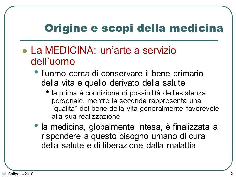 M. Calipari - 20102 Origine e scopi della medicina La MEDICINA: un'arte a servizio dell'uomo l'uomo cerca di conservare il bene primario della vita e