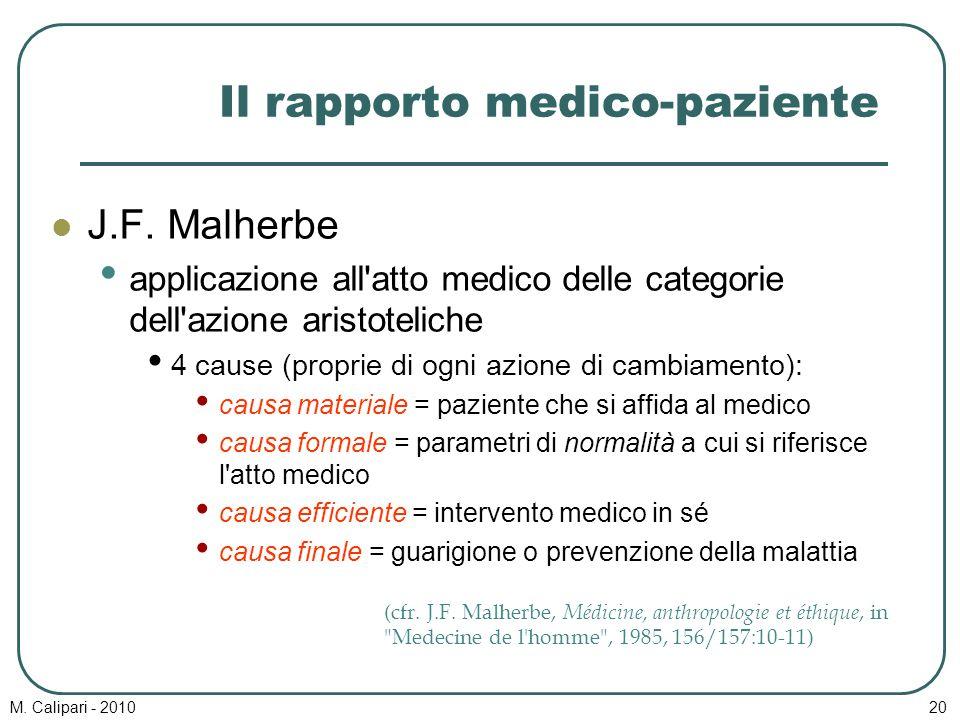 M. Calipari - 201020 Il rapporto medico-paziente J.F. Malherbe applicazione all'atto medico delle categorie dell'azione aristoteliche 4 cause (proprie