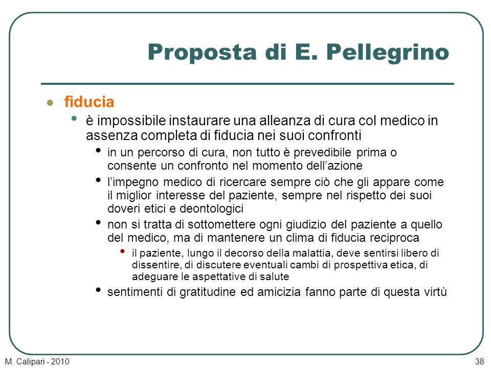 M. Calipari - 201038 Proposta di E. Pellegrino fiducia è impossibile instaurare una alleanza di cura col medico in assenza completa di fiducia nei suo