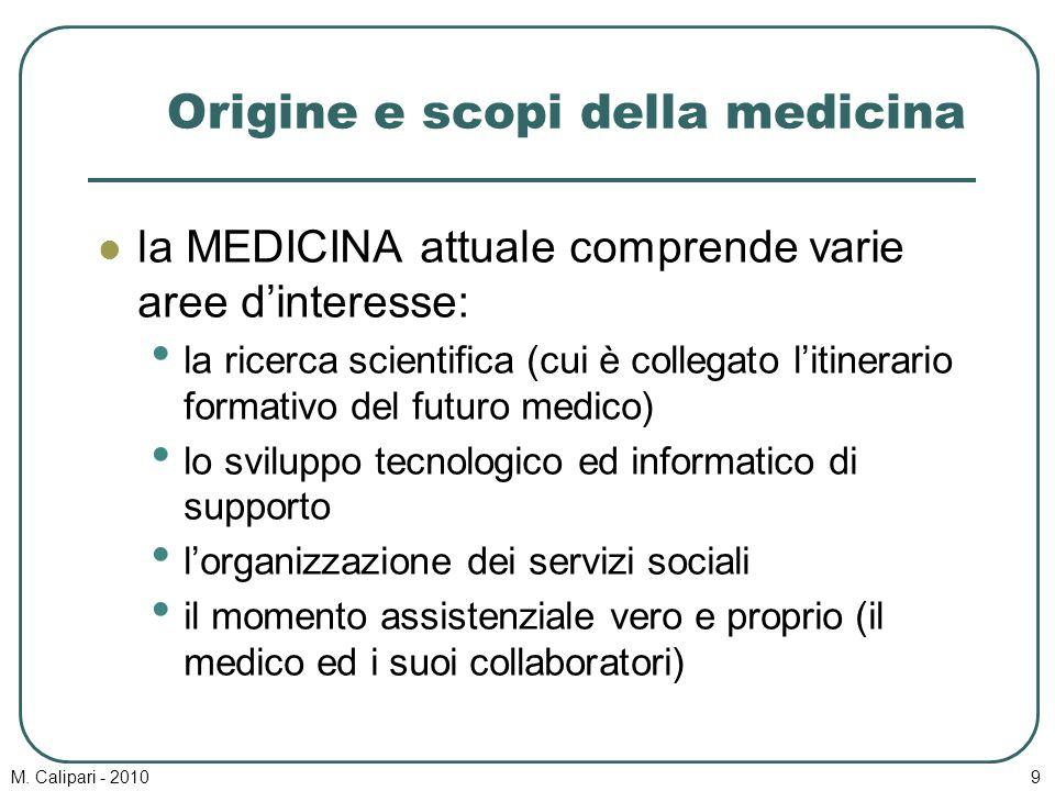 M. Calipari - 20109 Origine e scopi della medicina la MEDICINA attuale comprende varie aree d'interesse: la ricerca scientifica (cui è collegato l'iti