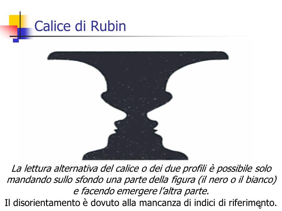 6 Calice di Rubin La lettura alternativa del calice o dei due profili è possibile solo mandando sullo sfondo una parte della figura (il nero o il bian