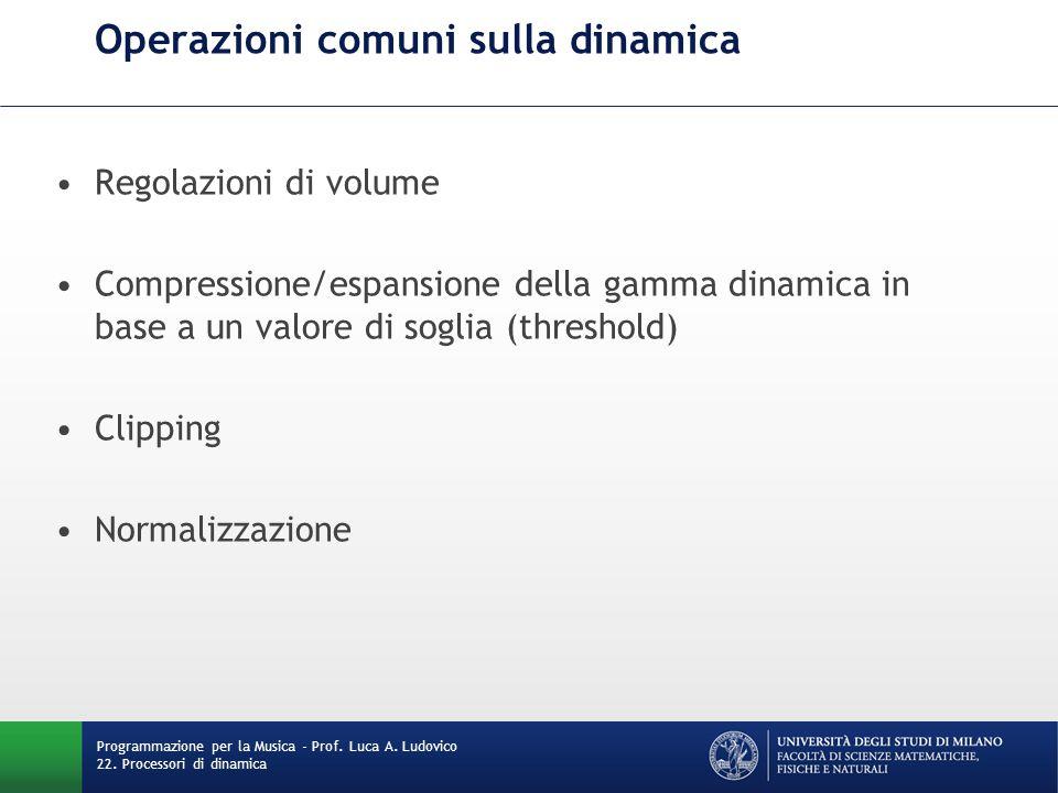 Operazioni comuni sulla dinamica Regolazioni di volume Compressione/espansione della gamma dinamica in base a un valore di soglia (threshold) Clipping Normalizzazione Programmazione per la Musica - Prof.