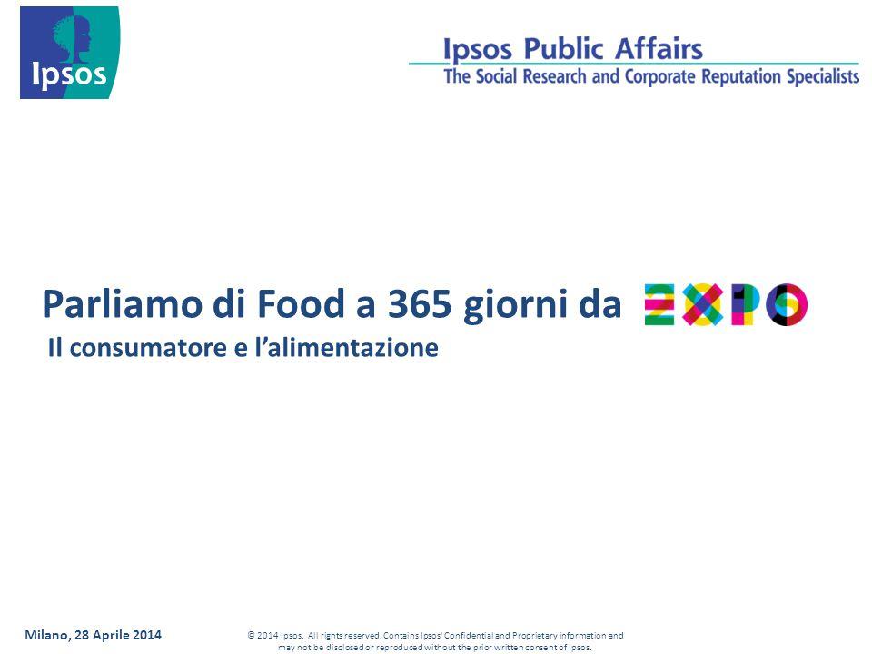 Milano, 28 Aprile 2014 Parliamo di Food a 365 giorni da Il consumatore e l'alimentazione © 2014 Ipsos.