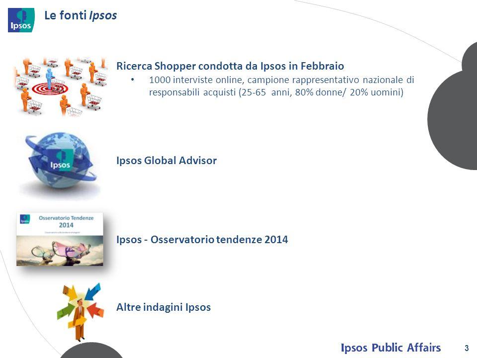 3 Le fonti Ipsos Ipsos Global Advisor Ipsos - Osservatorio tendenze 2014 Ricerca Shopper condotta da Ipsos in Febbraio 1000 interviste online, campion