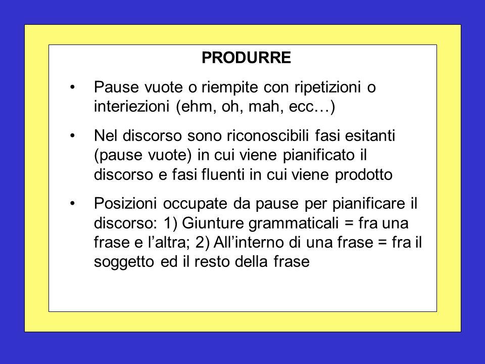 PRODURRE Pause vuote o riempite con ripetizioni o interiezioni (ehm, oh, mah, ecc…) Nel discorso sono riconoscibili fasi esitanti (pause vuote) in cui