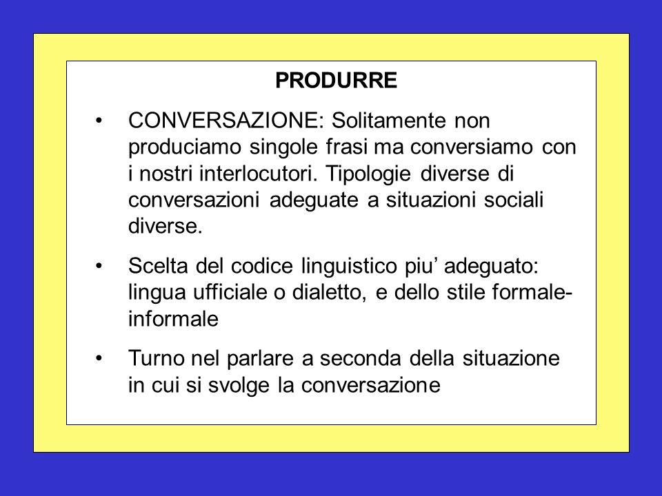 PRODURRE CONVERSAZIONE: Solitamente non produciamo singole frasi ma conversiamo con i nostri interlocutori. Tipologie diverse di conversazioni adeguat