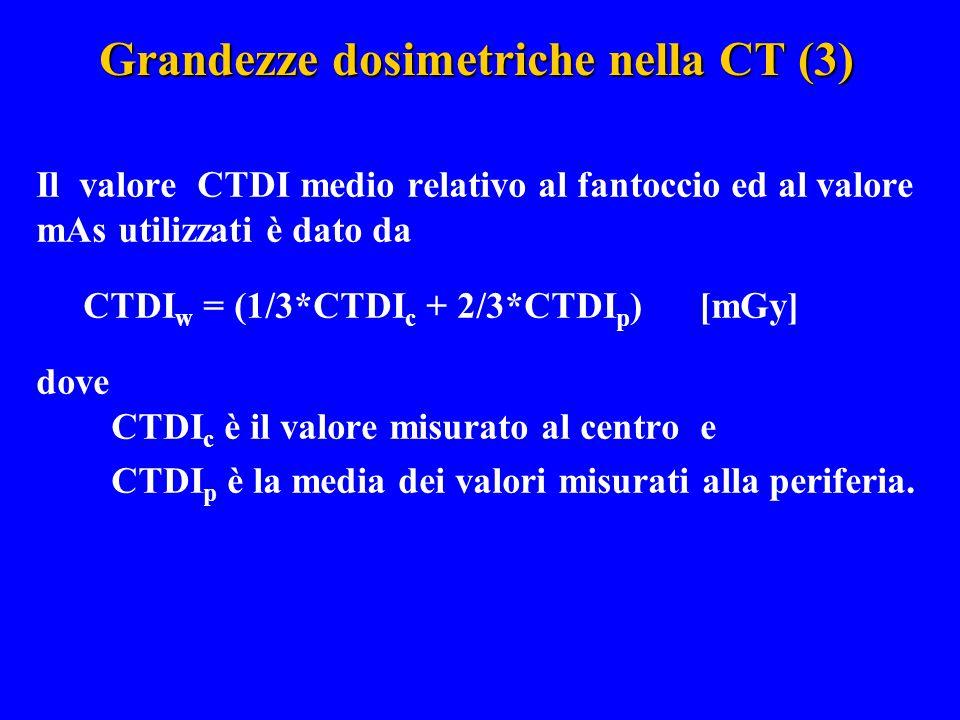 Grandezze dosimetriche nella CT (3) Il valore CTDI medio relativo al fantoccio ed al valore mAs utilizzati è dato da CTDI w = (1/3*CTDI c + 2/3*CTDI p