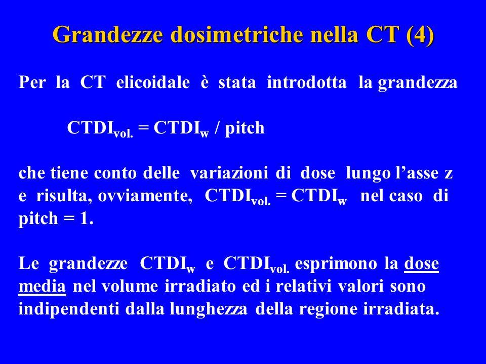 Grandezze dosimetriche nella CT (4) Per la CT elicoidale è stata introdotta la grandezza CTDI vol. = CTDI w / pitch che tiene conto delle variazioni d
