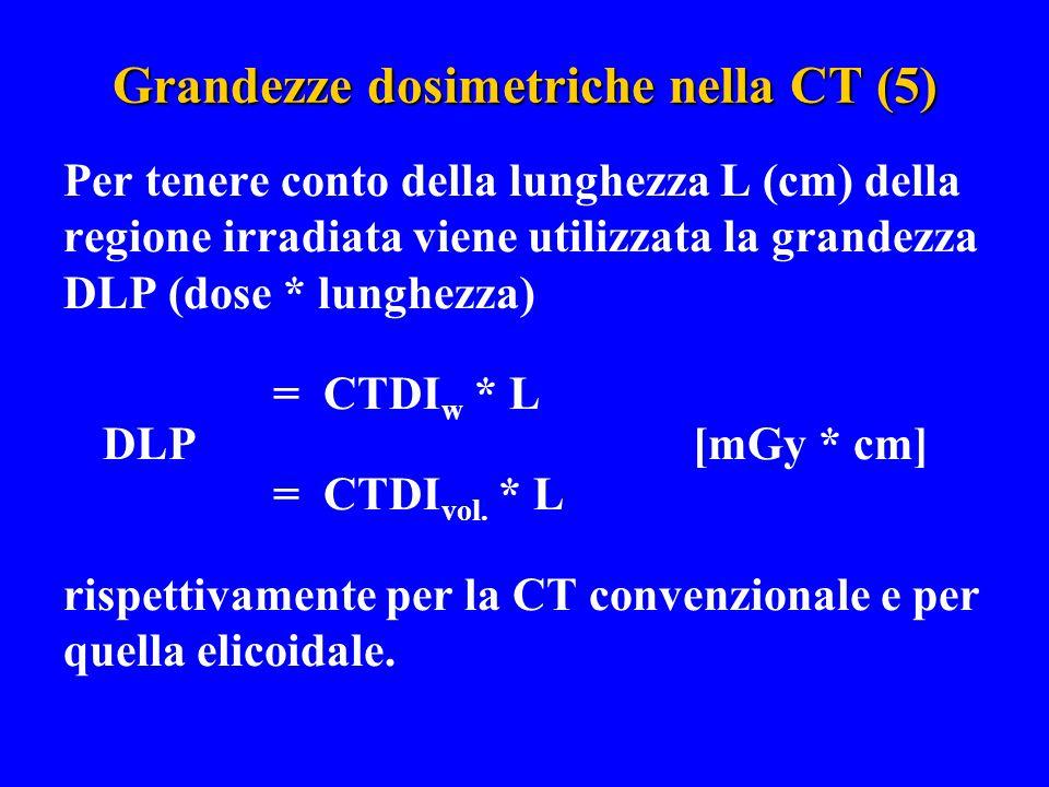 Grandezze dosimetriche nella CT (5) Per tenere conto della lunghezza L (cm) della regione irradiata viene utilizzata la grandezza DLP (dose * lunghezz