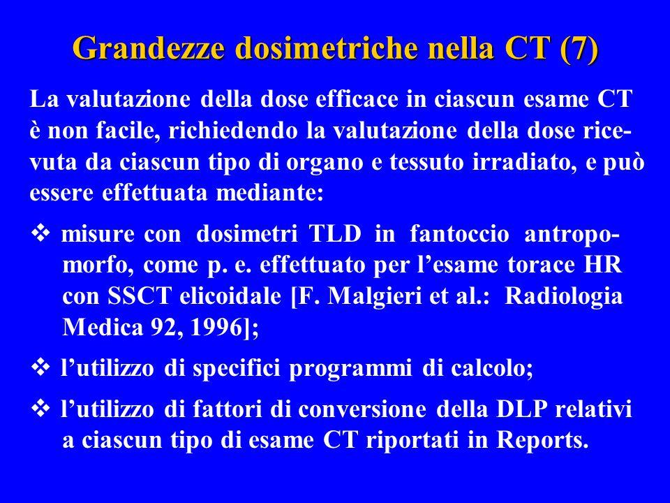 Grandezze dosimetriche nella CT (7) La valutazione della dose efficace in ciascun esame CT è non facile, richiedendo la valutazione della dose rice- v