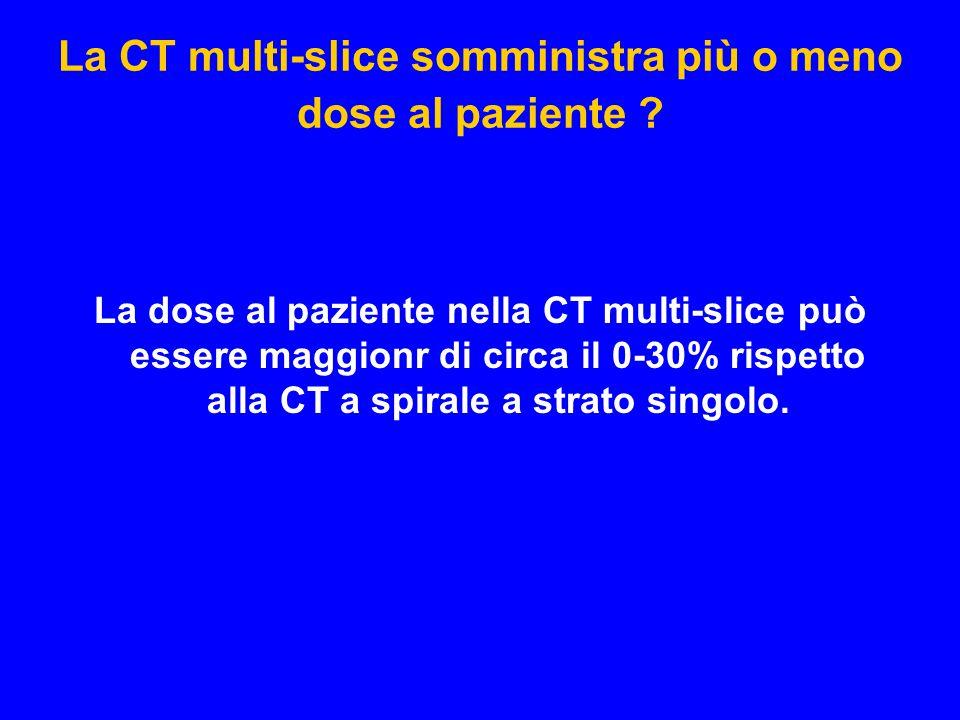 La CT multi-slice somministra più o meno dose al paziente ? La dose al paziente nella CT multi-slice può essere maggionr di circa il 0-30% rispetto al