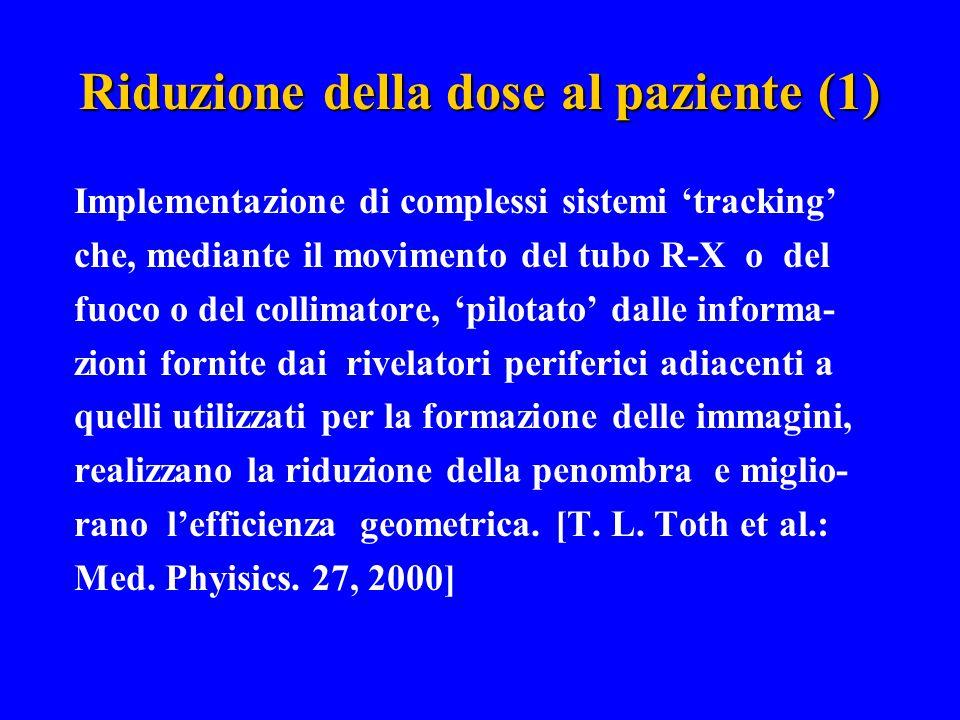 Riduzione della dose al paziente (1) Implementazione di complessi sistemi 'tracking' che, mediante il movimento del tubo R-X o del fuoco o del collima